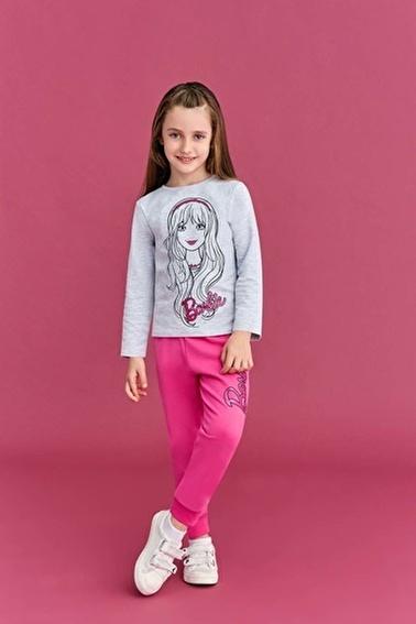 Barbie Barbie Lisanslı Kız Çocuk Eşofman Takımı Açık Gri Gri